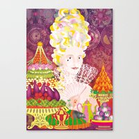 marie antoinette Canvas Prints featuring Marie-Antoinette by Caroline Krzykowiak