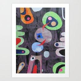 Aubergine Muddle Art Print