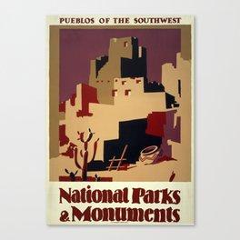 National Parks and Monuments: Pueblos of the southwest Canvas Print