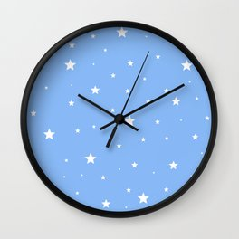 Scattered Stars on Sky Blue Wall Clock