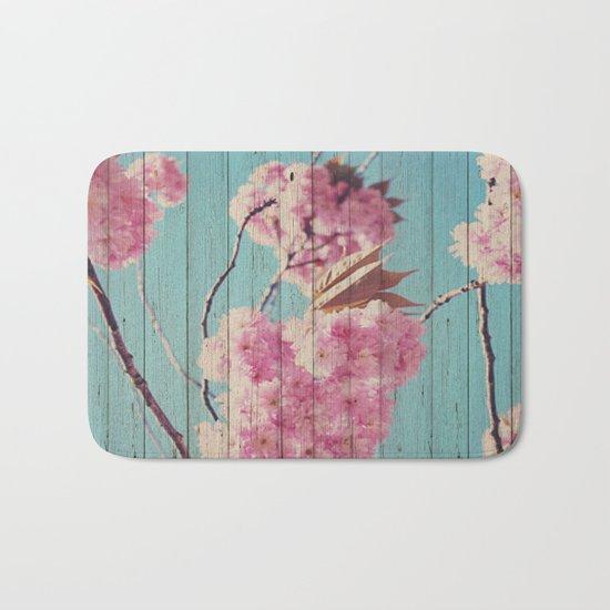 Sweet Flowers on Wood 06 Bath Mat
