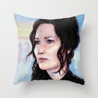 katniss Throw Pillows featuring Katniss Everdeen by Alina Rubanenko