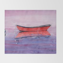 Red Dory Reflections Throw Blanket