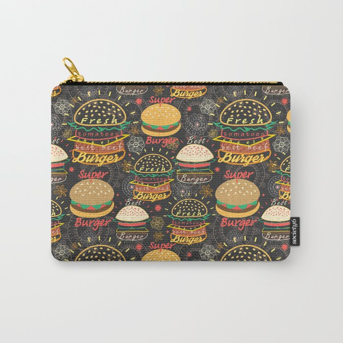 Graphic seamless pattern bright tasty burgers on a dark background Carry-All Pouch