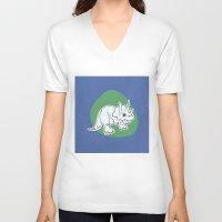 dinosaur V-neck T-shirts featuring Dinosaur by Caroline Provine