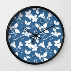 Drawings from Stonecrop Garden, Pattern in Blue & White Wall Clock