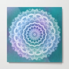 White Mandala on Teal, Purple and Navy Metal Print