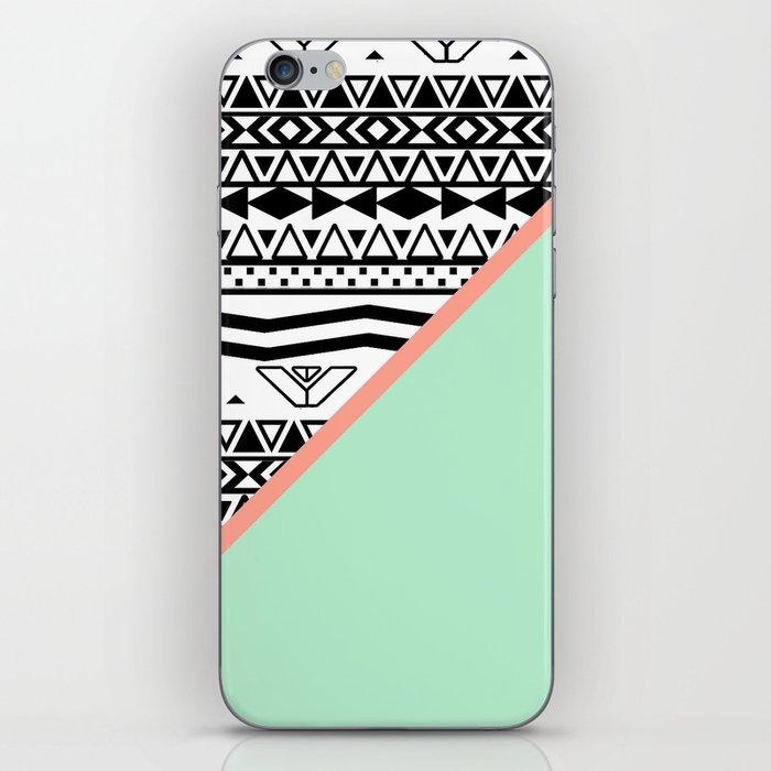 Block   Black White Aztec Pattern Mint Green Color Block iPhone Skin