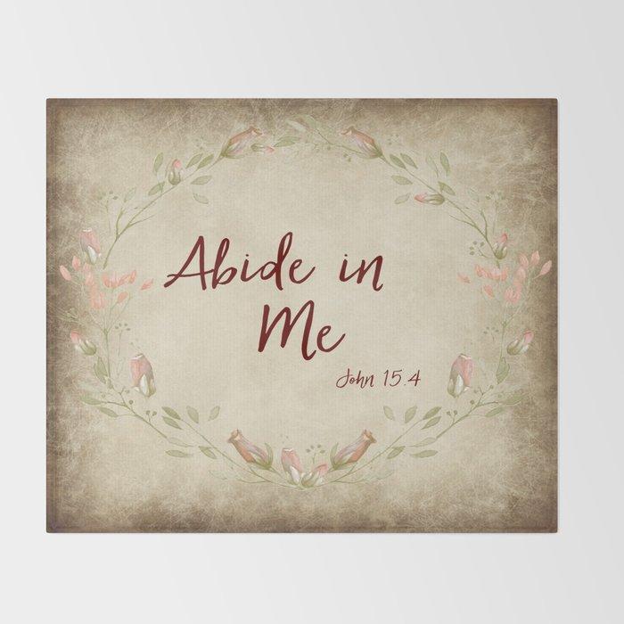 Abide in Me Bible Verse Throw Blanket