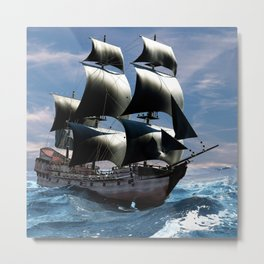 A beautiful sailboat in the open ocean Metal Print