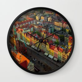 Colorful houses in Wroclaw, Poland Wall Clock