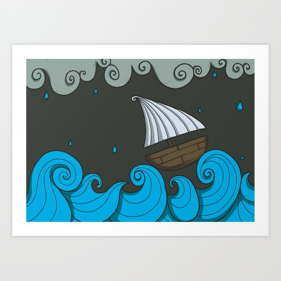 A Rainy Day at the Sea Art Print