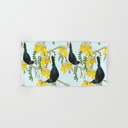 Tuis in the Kowhai Flowers Hand & Bath Towel