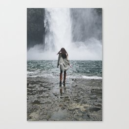 Young Woman in front of Waterfall Canvas Print