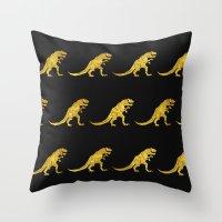 trex Throw Pillows featuring Golden T.Rex Pattern by chobopop