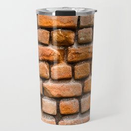 Background of red old vintage brick wall texture Travel Mug