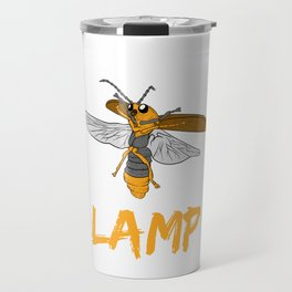 """Perfect Gift For Insects Fans Saying """"I Love Lamp"""" T-shirt Design Firefly Bee Stripe Black Yellow  Travel Mug"""