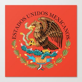 Mexican Flag seal on orange red background Canvas Print