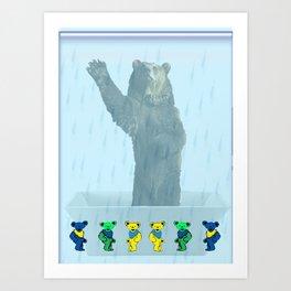 Dancing bears in the shower Art Print