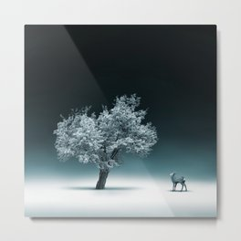 Baby Roe and Tree Conversation Metal Print