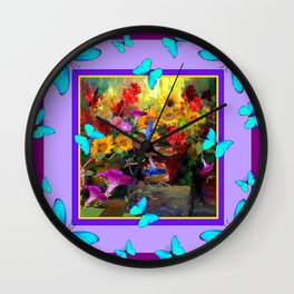 Blue Butterflies Purple Floral Still Life Painting Wall Clock