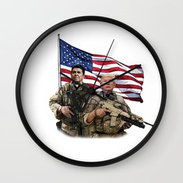 Presidential Soldiers: Ronald Reagan & Donald Trump USA Flag Wall Clock