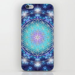 Flower Of Life Mandala Fractal turquoise iPhone Skin