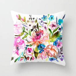 WATERCOLOUR PEONY AND ROSES Throw Pillow