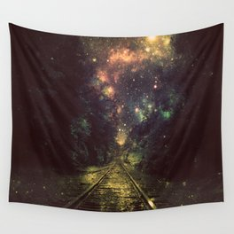 Train Tracks Next Stop Anywhere Dark Wall Tapestry