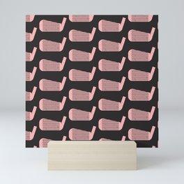Golf Club Head Vintage Pattern (Black/Pink) Mini Art Print