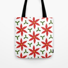 Poinsettia and leaves Tote Bag