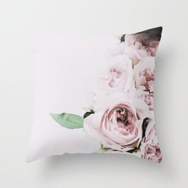 Flowers, Roses, Leaves, Plant, Green, Scandinavian, Minimal, Modern, Wall art Throw Pillow