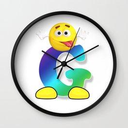 Letter G Alphabet Smiley Monogram Face Emoji Shirt for Men Women Kids Wall Clock