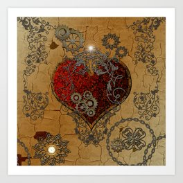 Steampunk, awesome heart Art Print