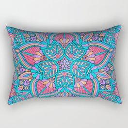 Pink and Turquoise Flower Mandala Rectangular Pillow