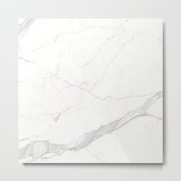 White Winter Marble Pattern Metal Print