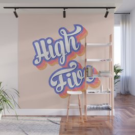 High Five - retro typography Wall Mural