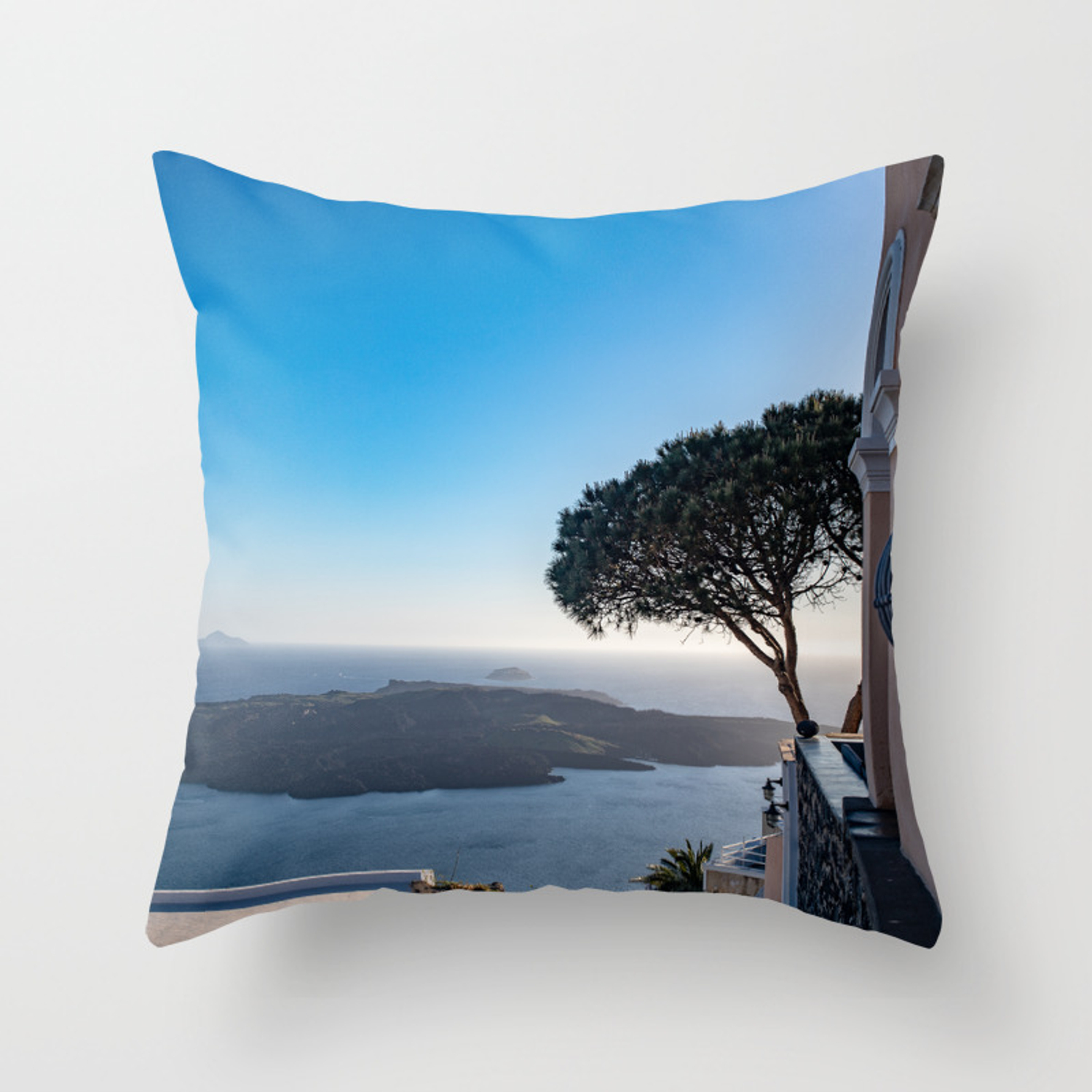 Lone Tree In Thira View Of Volcano In Santorini Throw Pillow By Joshtravelstheworld Society6