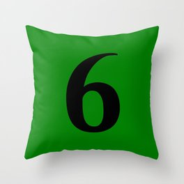 6 (BLACK & GREEN NUMBERS) Throw Pillow