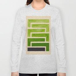 Sap Green Geometric Watercolor Painting Long Sleeve T-shirt