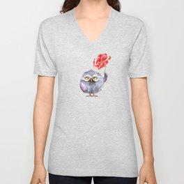 Owl and poppy Unisex V-Neck