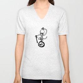 Unicycle Octopus Unisex V-Neck