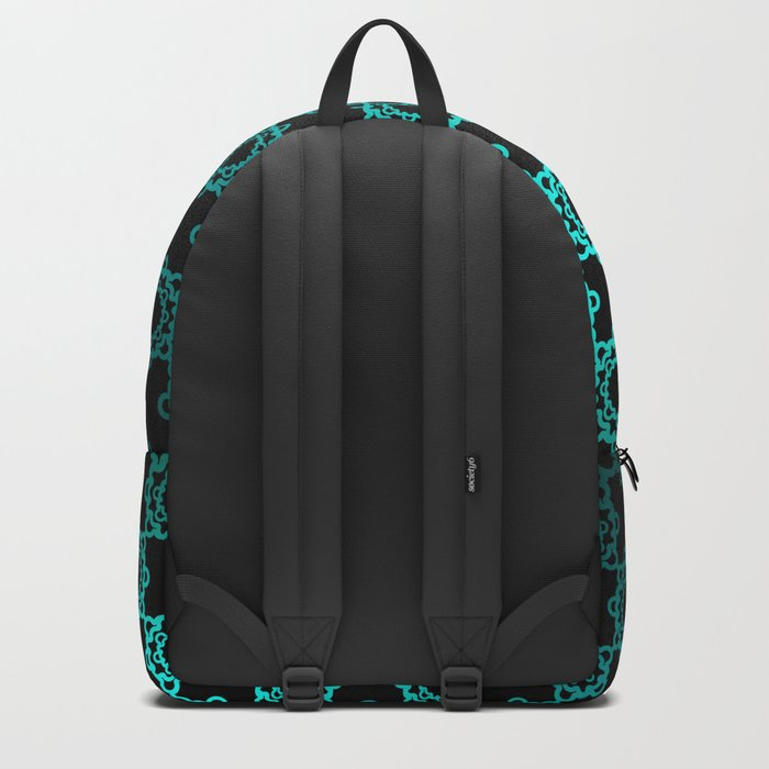 Retro. Black and turquoise satin ornament . Backpack