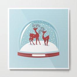 Retro Snow globe. Couple Deer. Metal Print