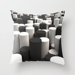 Pattern of black and white cylinders Throw Pillow