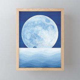 Full moon & paper boat Framed Mini Art Print