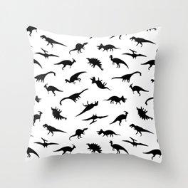 Dino Silhouettes Throw Pillow