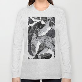 BANANA PALM LEAF PARADISE BLACK AND WHITE PATTERN Long Sleeve T-shirt