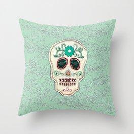 Fringy Flower Skull Throw Pillow