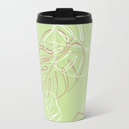 White and pink leaves in green blackground Travel Mug